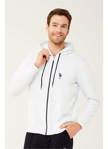 U.S. Polo Assn. U.S. Polo Assn. Erkek Lacivert Kapşonlu Ev Giyim Beyaz